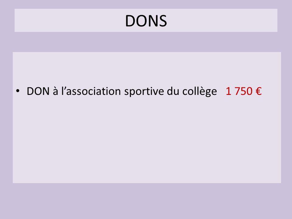 DONS DON à lassociation sportive du collège 1 750