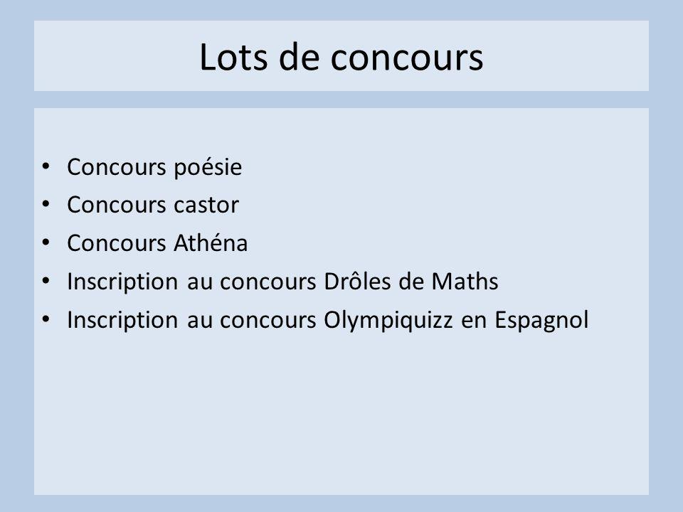 Lots de concours Concours poésie Concours castor Concours Athéna Inscription au concours Drôles de Maths Inscription au concours Olympiquizz en Espagnol