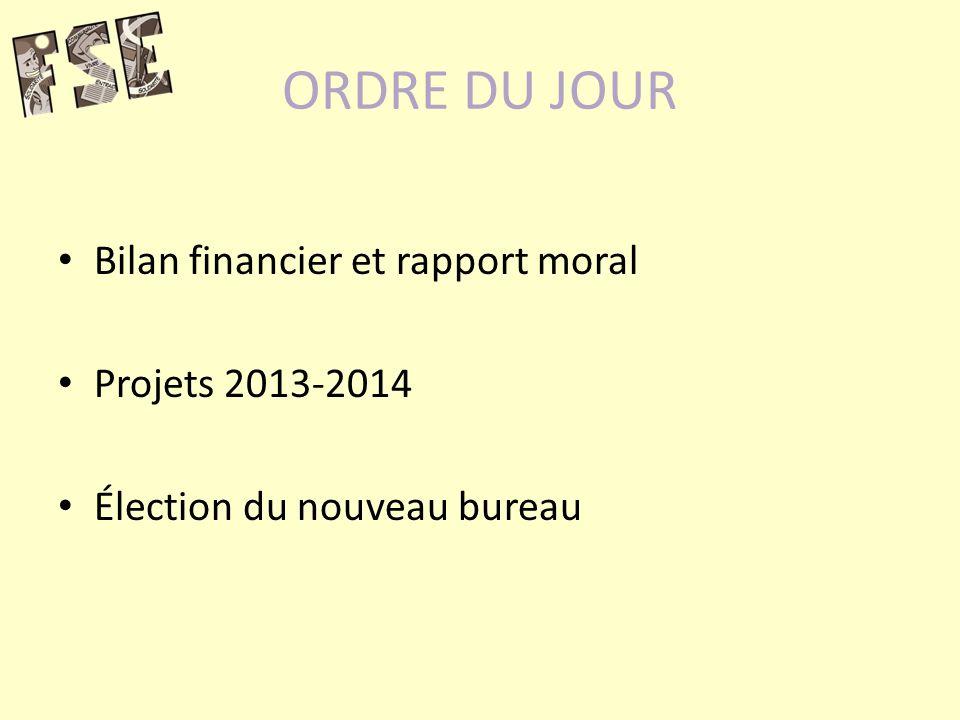 ORDRE DU JOUR Bilan financier et rapport moral Projets 2013-2014 Élection du nouveau bureau