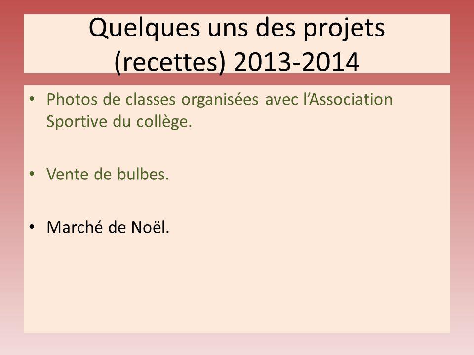 Quelques uns des projets (recettes) 2013-2014 Photos de classes organisées avec lAssociation Sportive du collège.