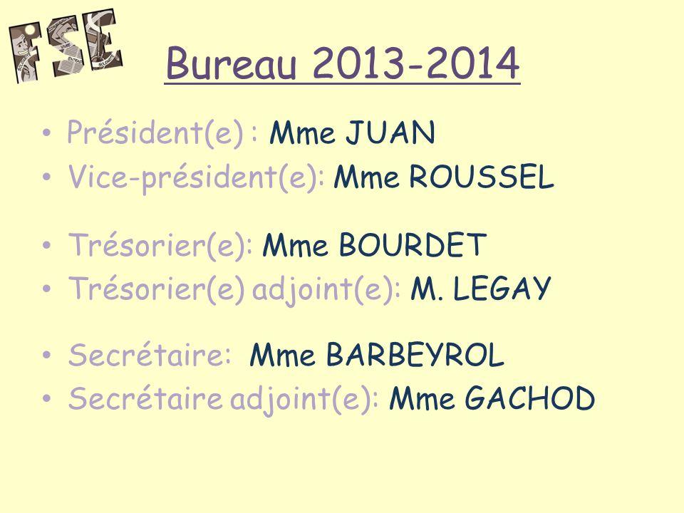 Bureau 2013-2014 Président(e) : Mme JUAN Vice-président(e): Mme ROUSSEL Trésorier(e): Mme BOURDET Trésorier(e) adjoint(e): M.
