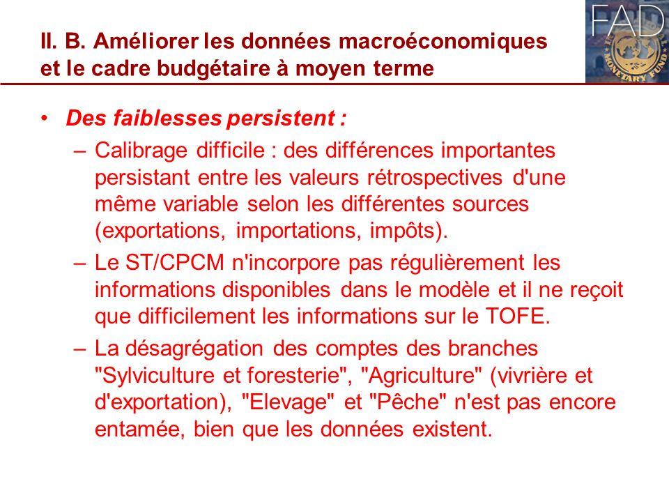 II. B. Améliorer les données macroéconomiques et le cadre budgétaire à moyen terme Des faiblesses persistent : –Calibrage difficile : des différences