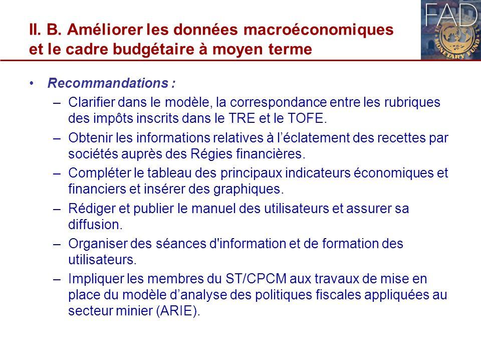 II. B. Améliorer les données macroéconomiques et le cadre budgétaire à moyen terme Recommandations : –Clarifier dans le modèle, la correspondance entr