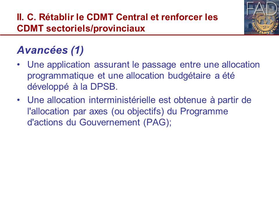 II. C. Rétablir le CDMT Central et renforcer les CDMT sectoriels/provinciaux Avancées (1) Une application assurant le passage entre une allocation pro