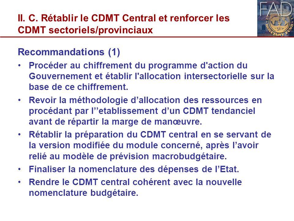 II. C. Rétablir le CDMT Central et renforcer les CDMT sectoriels/provinciaux Recommandations (1) Procéder au chiffrement du programme d'action du Gouv