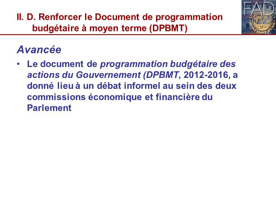 II. D. Renforcer le Document de programmation budgétaire à moyen terme (DPBMT) Avancée Le document de programmation budgétaire des actions du Gouverne