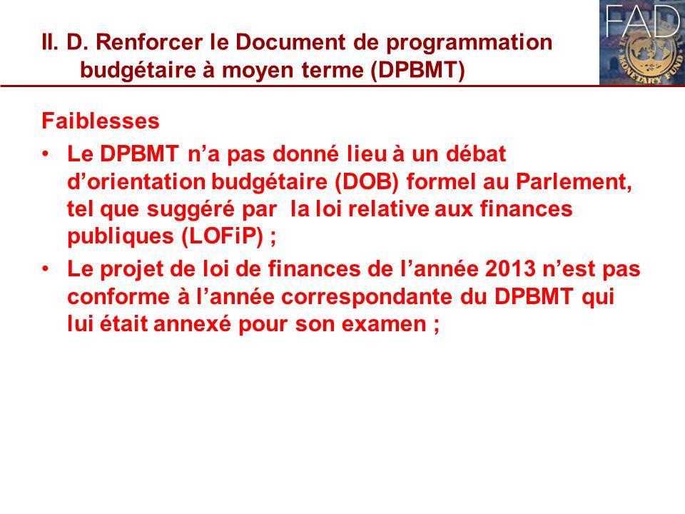 II. D. Renforcer le Document de programmation budgétaire à moyen terme (DPBMT) Faiblesses Le DPBMT na pas donné lieu à un débat dorientation budgétair