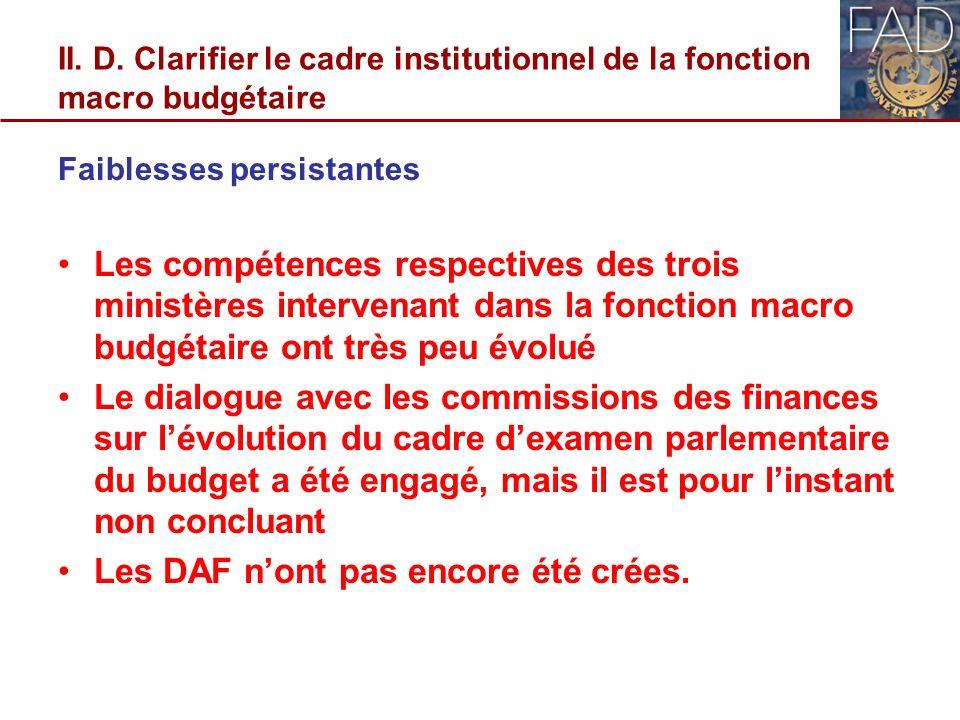 II. D. Clarifier le cadre institutionnel de la fonction macro budgétaire Faiblesses persistantes Les compétences respectives des trois ministères inte