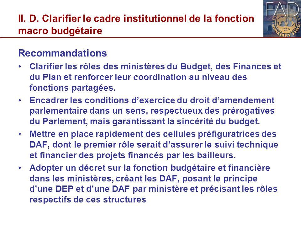 II. D. Clarifier le cadre institutionnel de la fonction macro budgétaire Recommandations Clarifier les rôles des ministères du Budget, des Finances et