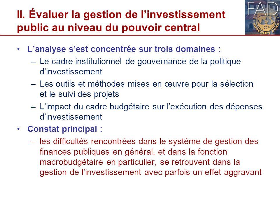 II. Évaluer la gestion de linvestissement public au niveau du pouvoir central Lanalyse sest concentrée sur trois domaines : –Le cadre institutionnel d
