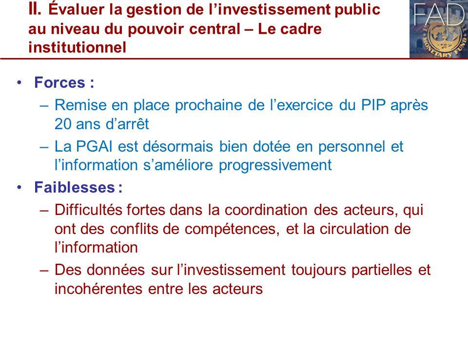 II. Évaluer la gestion de linvestissement public au niveau du pouvoir central – Le cadre institutionnel Forces : –Remise en place prochaine de lexerci