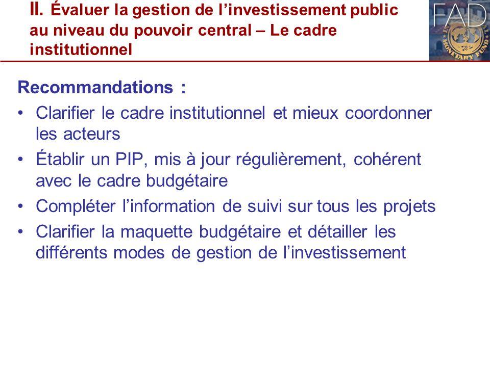 II. Évaluer la gestion de linvestissement public au niveau du pouvoir central – Le cadre institutionnel Recommandations : Clarifier le cadre instituti