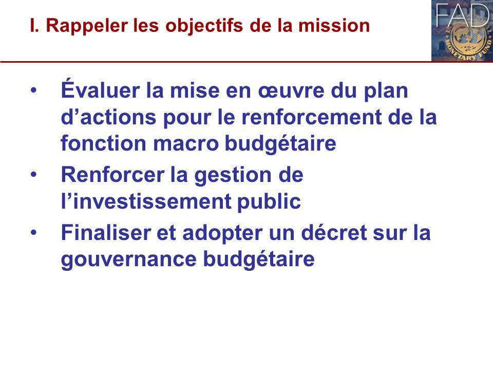 I. Rappeler les objectifs de la mission Évaluer la mise en œuvre du plan dactions pour le renforcement de la fonction macro budgétaire Renforcer la ge