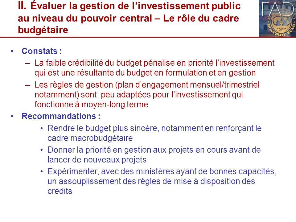 II. Évaluer la gestion de linvestissement public au niveau du pouvoir central – Le rôle du cadre budgétaire Constats : –La faible crédibilité du budge