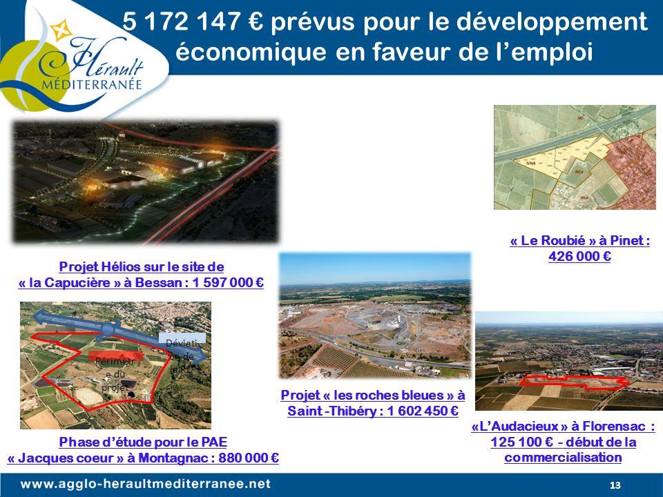 13 5 172 147 prévus pour le développement économique en faveur de lemploi Projet Hélios sur le site de « la Capucière » à Bessan : 1 597 000 Déviati o