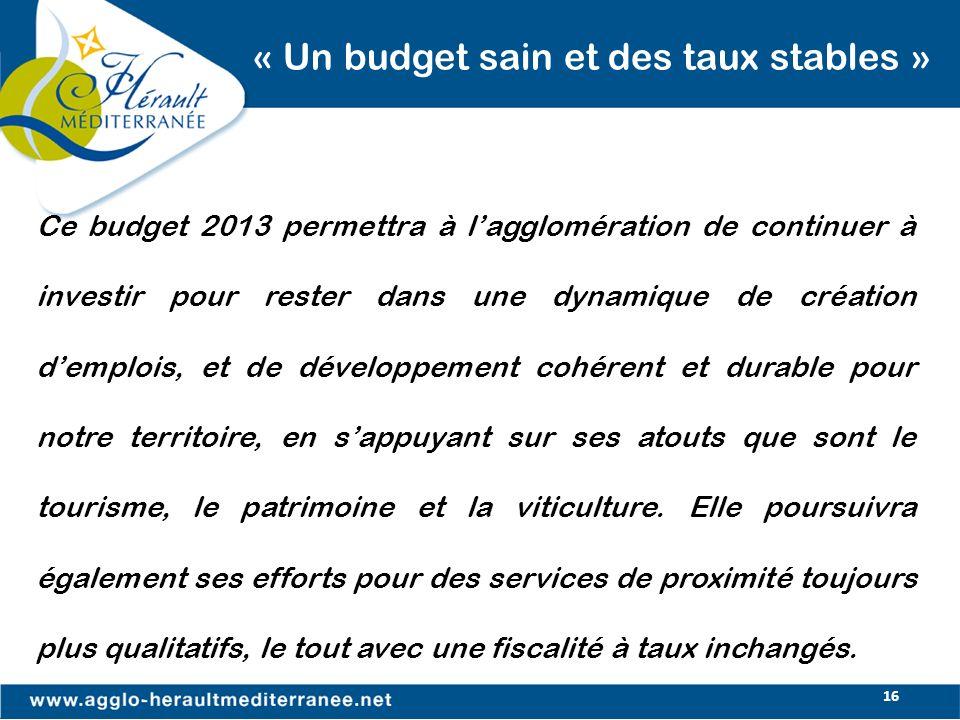 16 « Un budget sain et des taux stables » Ce budget 2013 permettra à lagglomération de continuer à investir pour rester dans une dynamique de création
