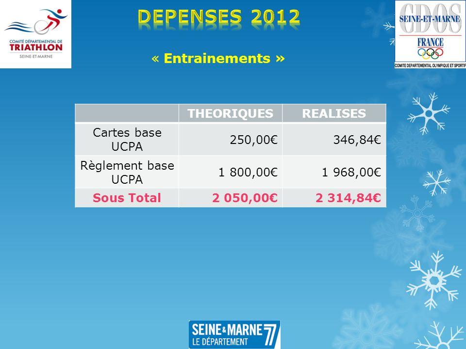 « Entrainements » THEORIQUESREALISES Cartes base UCPA 250,00346,84 Règlement base UCPA 1 800,001 968,00 Sous Total 2 050,002 314,84