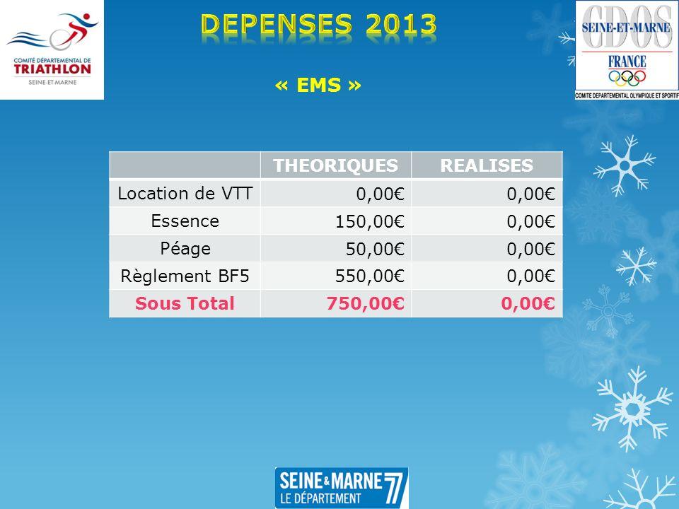 « EMS » THEORIQUESREALISES Location de VTT 0,00 Essence 150,000,00 Péage 50,000,00 Règlement BF5 550,000,00 Sous Total 750,000,00