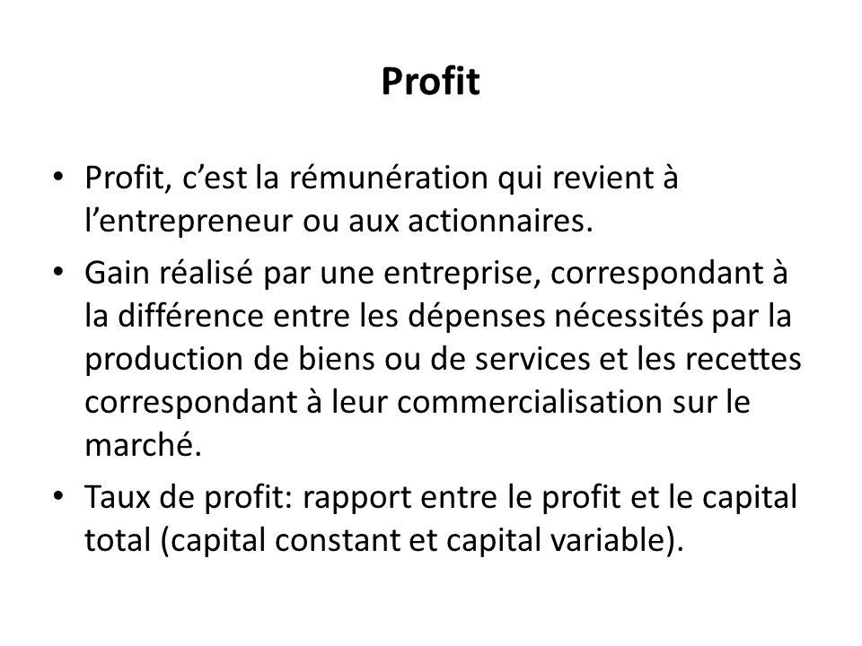 Profit Profit, cest la rémunération qui revient à lentrepreneur ou aux actionnaires.
