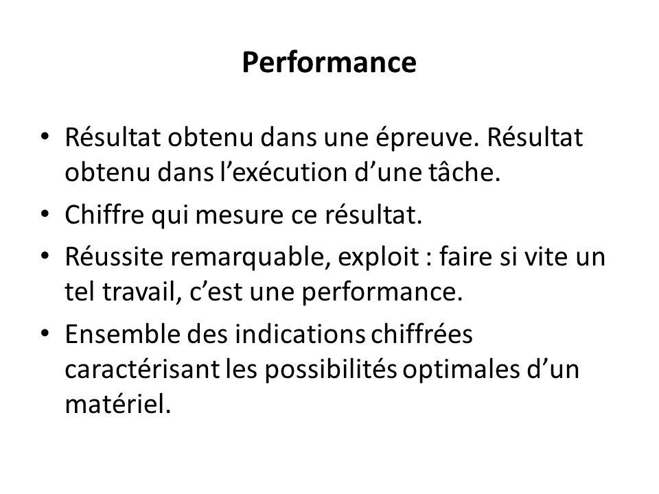 Performance Résultat obtenu dans une épreuve.Résultat obtenu dans lexécution dune tâche.