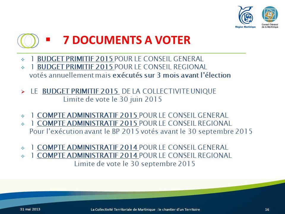 31 mai 2013 La Collectivité Territoriale de Martinique : le chantier d'un Territoire16 7 DOCUMENTS A VOTER 1 BUDGET PRIMITIF 2015 POUR LE CONSEIL GENE