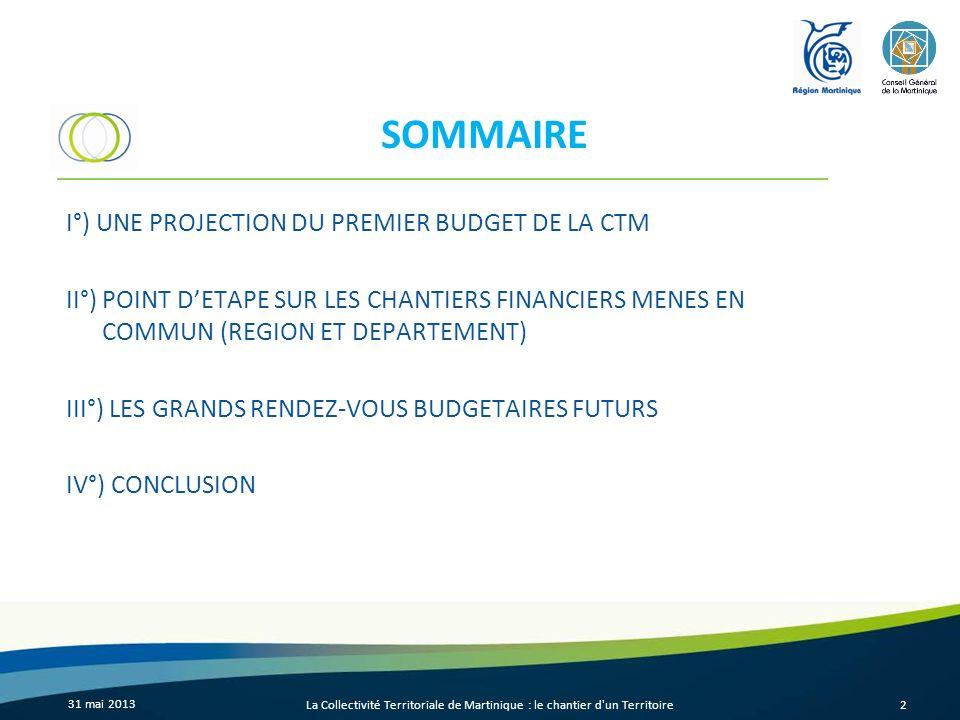 31 mai 2013 La Collectivité Territoriale de Martinique : le chantier d un Territoire13 II°) POINT DETAPE SUR LES CHANTIERS FINANCIERS MENES EN COMMUN (REGION ET DEPARTEMENT)