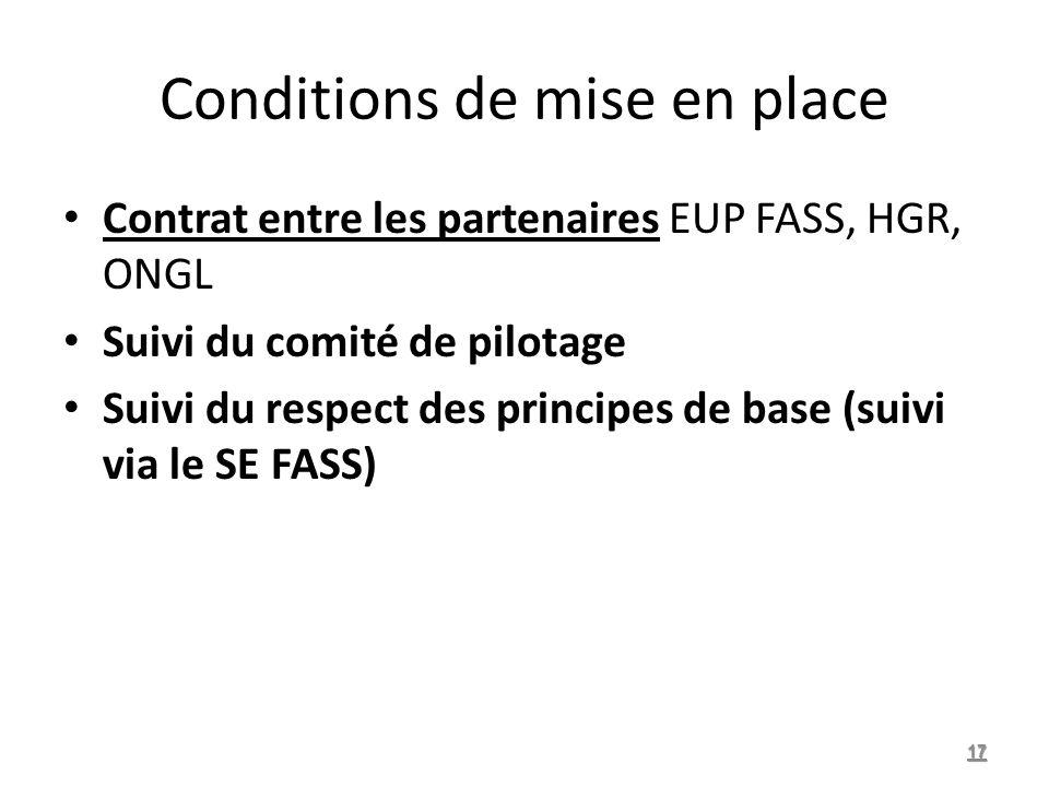 Conditions de mise en place Contrat entre les partenaires EUP FASS, HGR, ONGL Suivi du comité de pilotage Suivi du respect des principes de base (suivi via le SE FASS) 17
