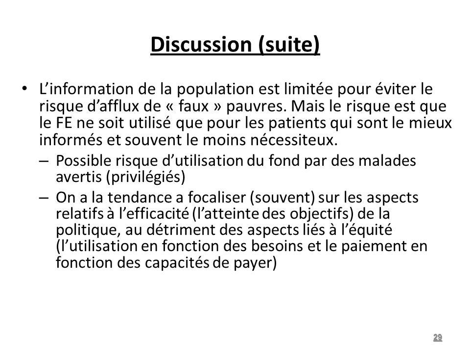 Discussion (suite) Linformation de la population est limitée pour éviter le risque dafflux de « faux » pauvres.