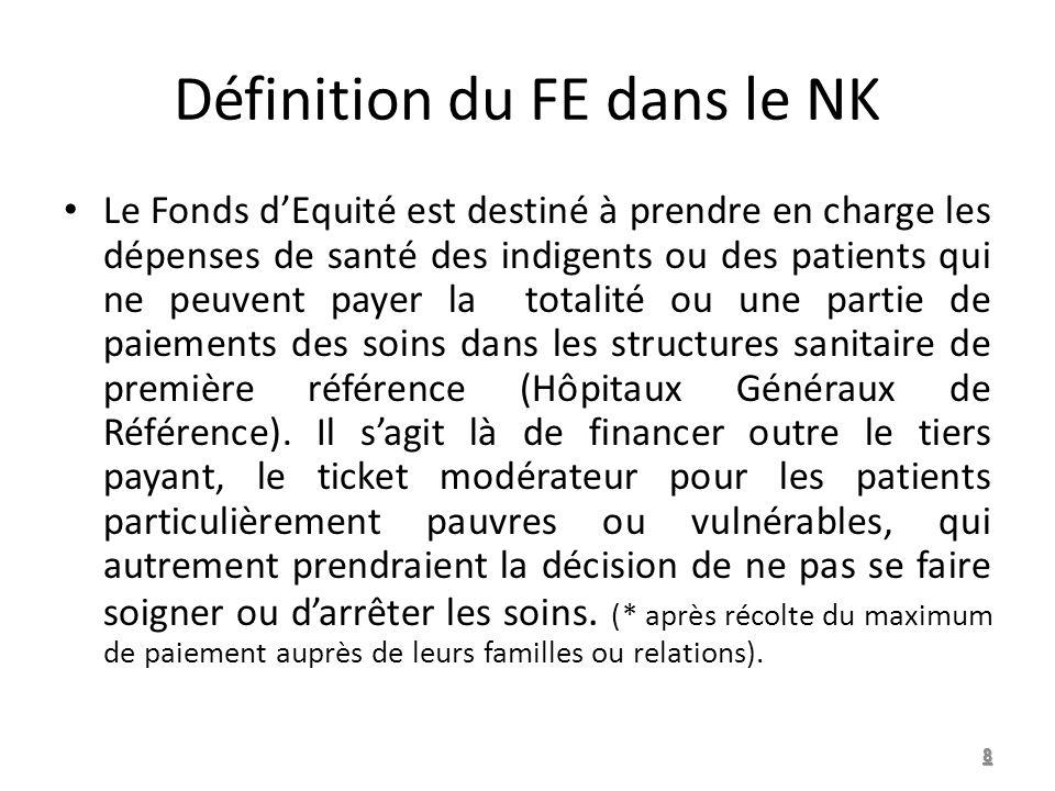 Définition du FE dans le NK Le Fonds dEquité est destiné à prendre en charge les dépenses de santé des indigents ou des patients qui ne peuvent payer la totalité ou une partie de paiements des soins dans les structures sanitaire de première référence (Hôpitaux Généraux de Référence).