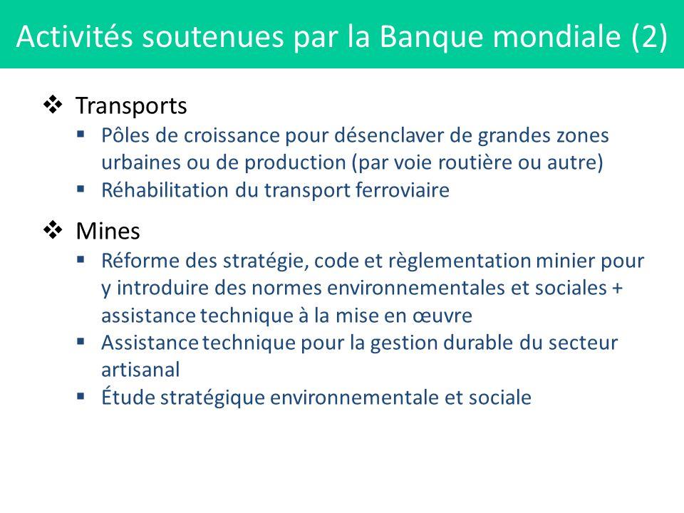 Transports Pôles de croissance pour désenclaver de grandes zones urbaines ou de production (par voie routière ou autre) Réhabilitation du transport fe