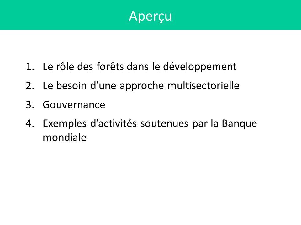 1.Le rôle des forêts dans le développement 2.Le besoin dune approche multisectorielle 3.Gouvernance 4.Exemples dactivités soutenues par la Banque mond