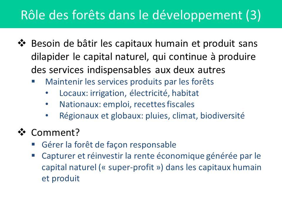 Besoin de bâtir les capitaux humain et produit sans dilapider le capital naturel, qui continue à produire des services indispensables aux deux autres