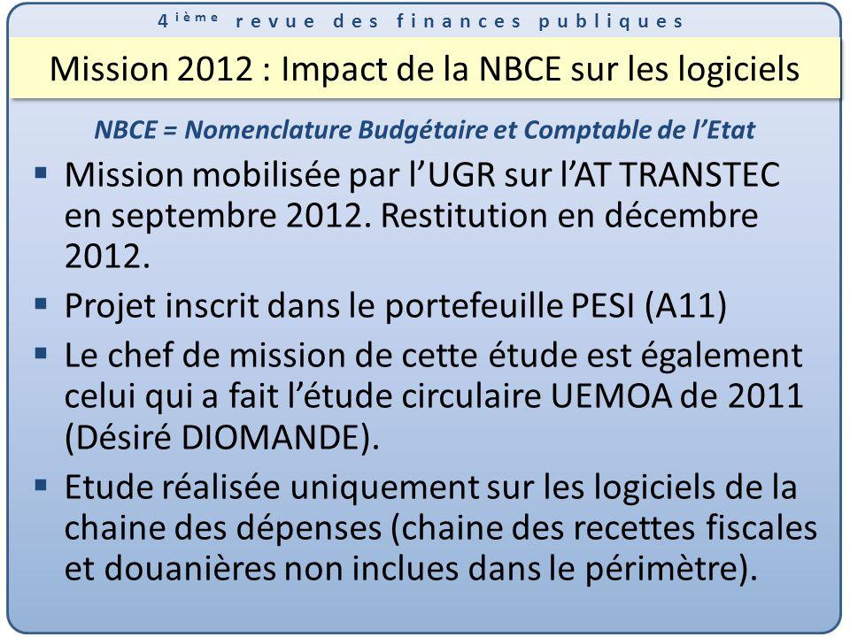 4 ième revue des finances publiques Mission 2012 : Impact de la NBCE sur les logiciels NBCE = Nomenclature Budgétaire et Comptable de lEtat Mission mobilisée par lUGR sur lAT TRANSTEC en septembre 2012.