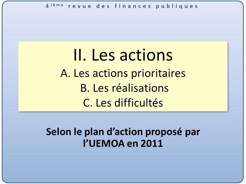 4 ième revue des finances publiques II.Les actions A.