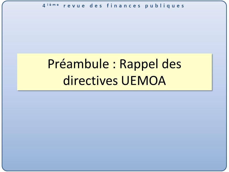 4 ième revue des finances publiques Préambule : Rappel des directives UEMOA