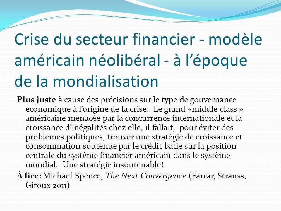 Crise du secteur financier - modèle américain néolibéral - à lépoque de la mondialisation Plus juste à cause des précisions sur le type de gouvernance économique à lorigine de la crise.