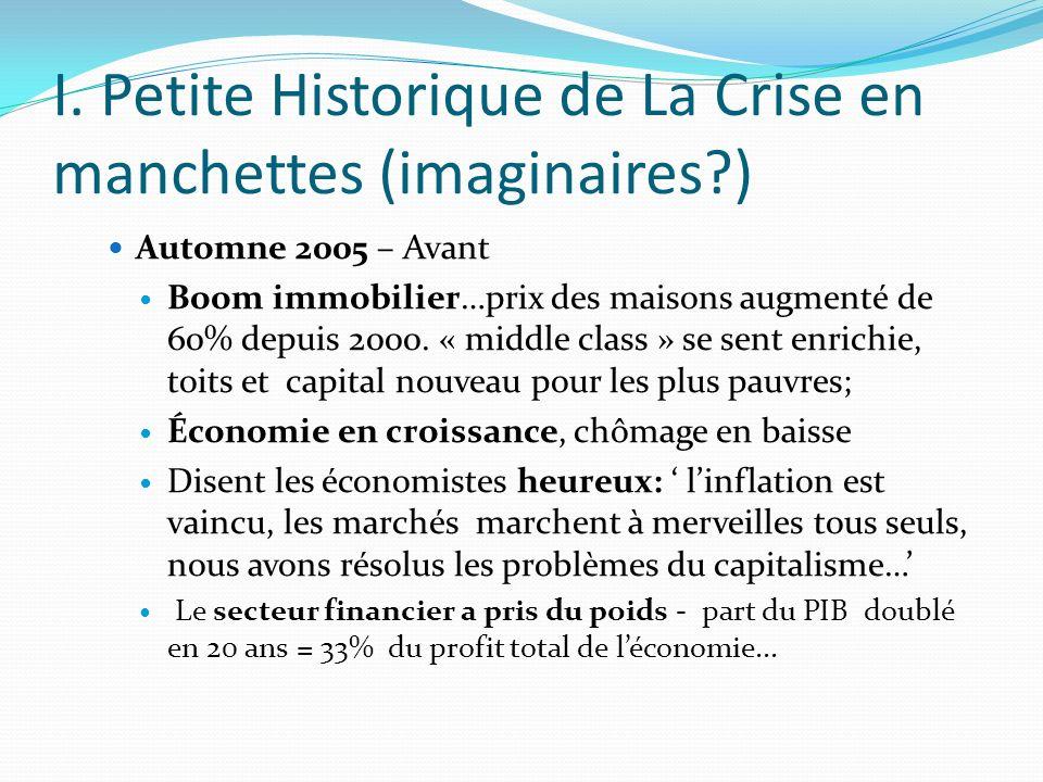 I. Petite Historique de La Crise en manchettes (imaginaires?) Automne 2005 – Avant Boom immobilier…prix des maisons augmenté de 60% depuis 2000. « mid