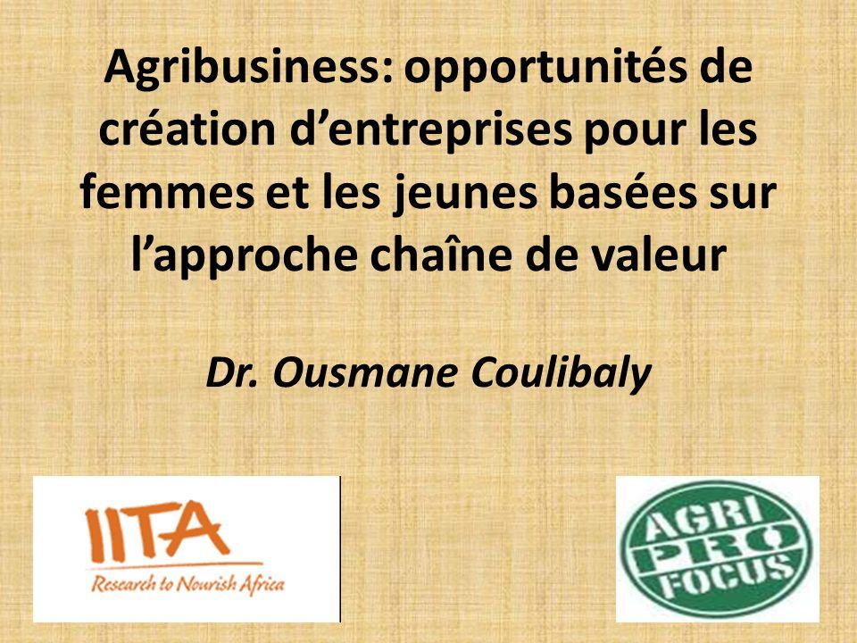 Importance de lAgribusiness au Bénin -Economie essentiellement basée sur lagriculture Secteur rural occupe 70% de la population active Contribuant à 39% du PIB Procure 90% des recettes dexportation - Croissance du revenu par habitant de 570 $US en 2005 à 780 $ US en 2010 (Banque mondiale, 2012), -Politique orientée vers la diversification agricole et des recettes dexportation.