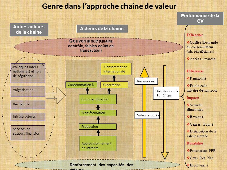 Genre dans lapproche chaîne de valeur Distribution des Bénéfices Ressources Valeur ajoutée Gouvernance (Qualité contrôle, faibles coûts de transaction