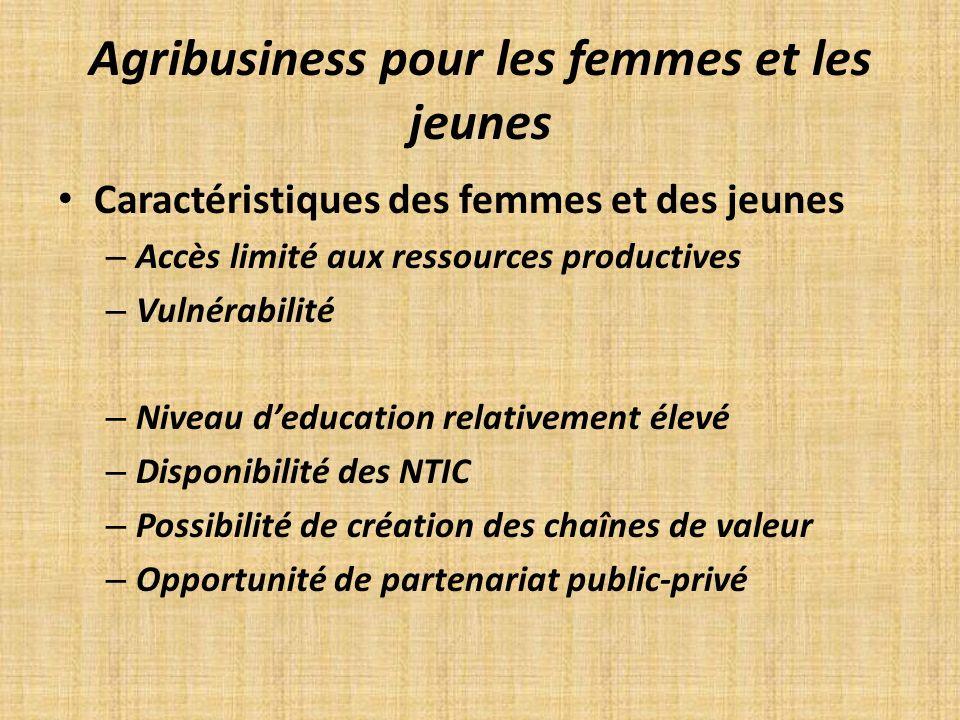 Agribusiness pour les femmes et les jeunes Caractéristiques des femmes et des jeunes – Accès limité aux ressources productives – Vulnérabilité – Nivea