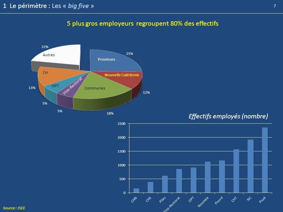 7 5 plus gros employeurs regroupent 80% des effectifs Communes 1 Le périmètre : Les « big five » Effectifs employés (nombre) Source : ISEE
