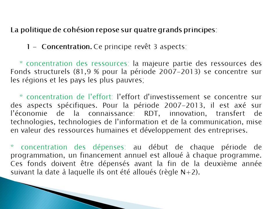 La politique de cohésion repose sur quatre grands principes: 1 - Concentration. Ce principe revêt 3 aspects: * concentration des ressources: la majeur
