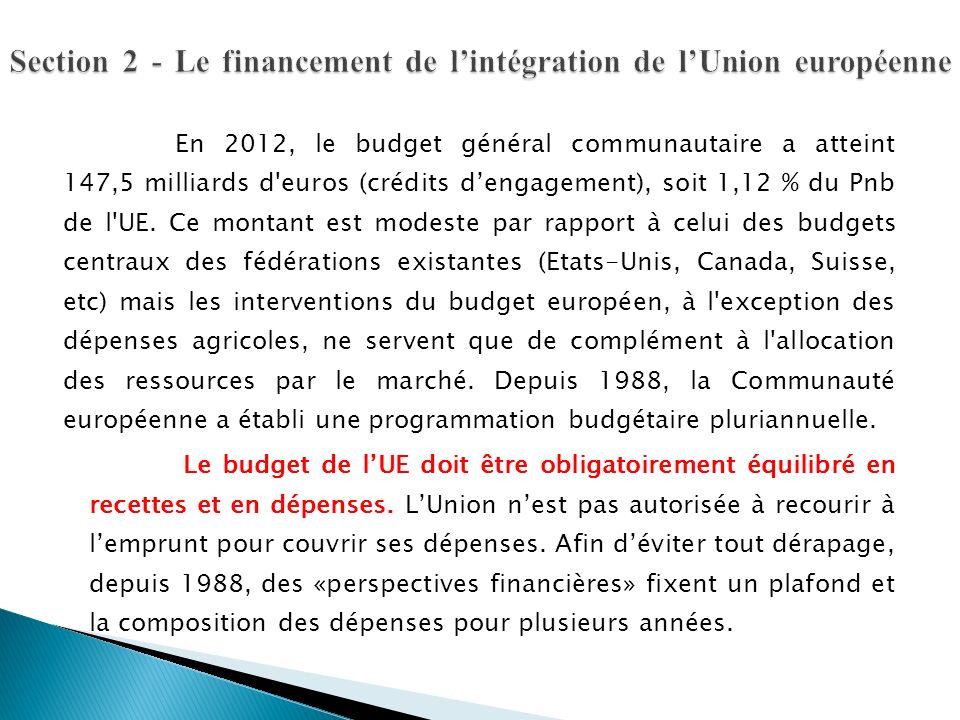 En 2012, le budget général communautaire a atteint 147,5 milliards d'euros (crédits dengagement), soit 1,12 % du Pnb de l'UE. Ce montant est modeste p
