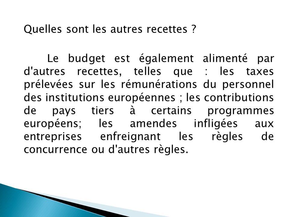 Quelles sont les autres recettes ? Le budget est également alimenté par d'autres recettes, telles que : les taxes prélevées sur les rémunérations du p