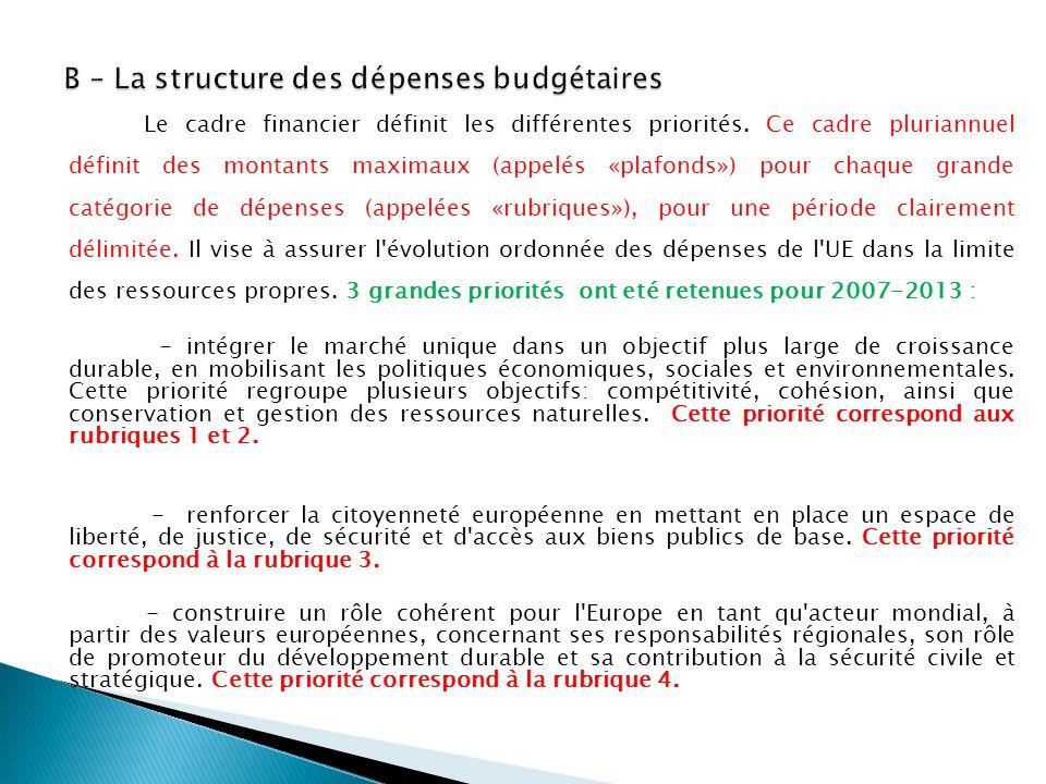 Le cadre financier définit les différentes priorités. Ce cadre pluriannuel définit des montants maximaux (appelés «plafonds») pour chaque grande catég