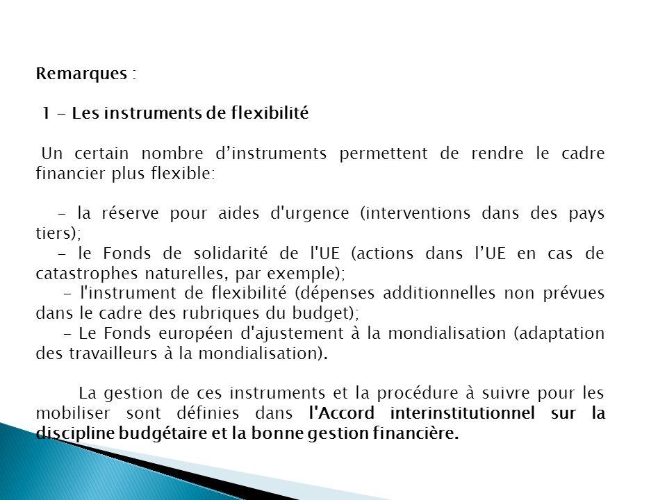 Remarques : 1 - Les instruments de flexibilité Un certain nombre dinstruments permettent de rendre le cadre financier plus flexible: - la réserve pour