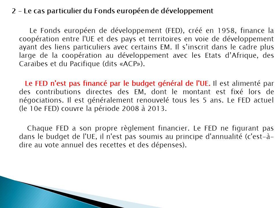 2 – Le cas particulier du Fonds européen de développement Le Fonds européen de développement (FED), créé en 1958, finance la coopération entre l'UE et