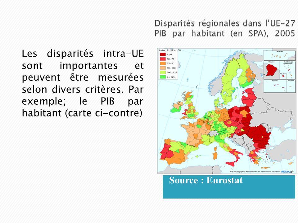 Source : Eurostat Les disparités intra-UE sont importantes et peuvent être mesurées selon divers critères. Par exemple; le PIB par habitant (carte ci-