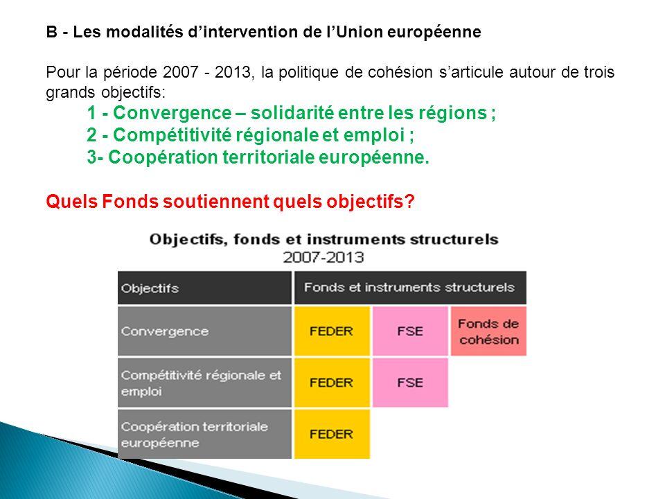 B - Les modalités dintervention de lUnion européenne Pour la période 2007 - 2013, la politique de cohésion sarticule autour de trois grands objectifs: