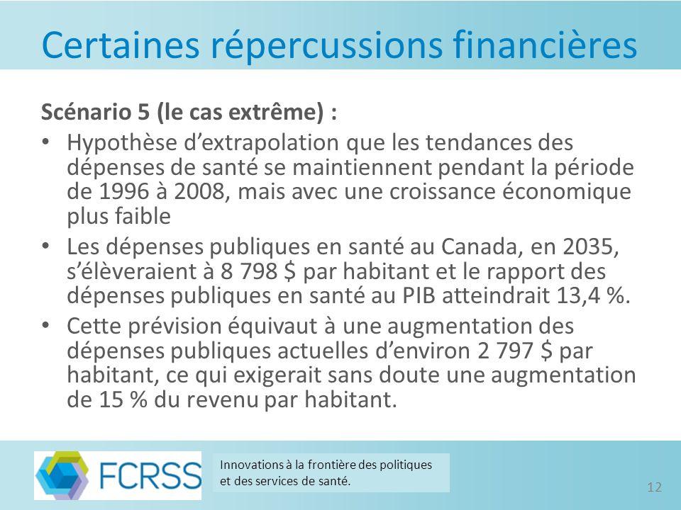 Certaines répercussions financières Scénario 5 (le cas extrême) : Hypothèse dextrapolation que les tendances des dépenses de santé se maintiennent pendant la période de 1996 à 2008, mais avec une croissance économique plus faible Les dépenses publiques en santé au Canada, en 2035, sélèveraient à 8 798 $ par habitant et le rapport des dépenses publiques en santé au PIB atteindrait 13,4 %.